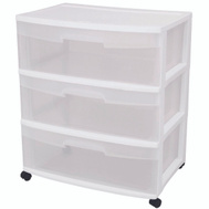 Sterilite 29308001 Cart Wide 3 Drawer Clear And White