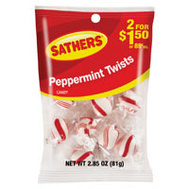 Sathers 10106 Peppermint Twists Bag 2.85 Ounce
