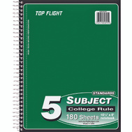 Top Flight 4511955 5 Subject College Rule Notebook