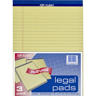 Top Flight 4513094 8 1/2 Inch By 11 3/4 Inch Yellow Legal Pad