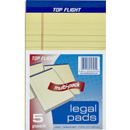 Top Flight 4513090 5 Inch By 8 Inch Yellow Legal Pad