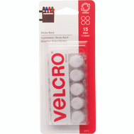 Velcro Brands 90070 Sticky Back 5/8 Inch Coin Fastener White Pack Of 15