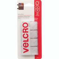 Velcro Brands 90073 Sticky Back 7/8 White Square Fastener Pack Of 12