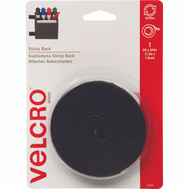 Velcro Brands 90086 Sticky Back Black 5 Foot By 3/4 Inch Hook And Loop Fastener Roll
