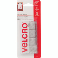 Velcro Brands 91330 Sticky Back Fastener Velcro Sq 7/8In Clear 12 Pack