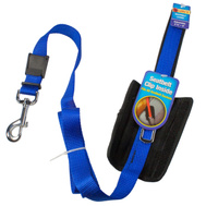 Westminster Pet 41331 Ruffin It Blue Adjustable Seat Belt Leash With Belt Clip