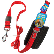 Westminster Pet 41332 Ruffin It Red Adjustable Seat Belt Leash With Belt Clip