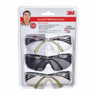 3M SF400-W-3PK Secure Fit Anti Fog Eye Protection Glasses Features Clear Gray And Mirror Lens 3-Pack