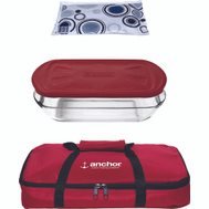 Anchor Hocking 91087L16 Baking Dish With Lid, Tote, And Hot/Cold Pack