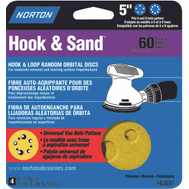 Norton 02007 Hook & Sand 5 Inch Universal 5+8 Hole Hook And Loop Sanding Disc 60 Grit Coarse 4 Pack