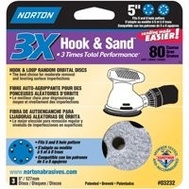 Norton 03232 Hook & Sand 5 Inch Universal 5+8 Hole Cerma Alumina Sanding Discs 80 Grit Coarse 3 Pack