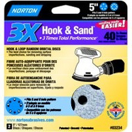 Norton 03234 Hook & Sand 5 Inch Universal 5+8 Hole Cerma Alumina Sanding Discs 40 Grit Extra Coarse 2 Pack