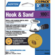 Norton 04058 Hook & Sand 5 Inch Universal 5+8 Hole Hook And Loop Sanding Disc 180 Grit Fine 25 Pack