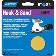 Norton 49158 Hook & Sand 5 Inch By 8 Hole Premium Sanding Disc 60 Grit Coarse 4 Pack