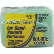 Linzer RR938-3 Rol Rite 3 Inch 3/8 Inch Pile Utility Semi Smooth Surface Roller Cover