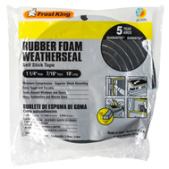 Thermwell R516 Frost King 7/16 Inch By 10 Foot Black Rubber Foam Weather Seal With Self Stick Tape