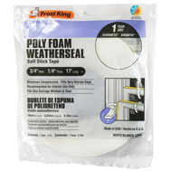 Thermwell L342 Frost King 3/4 Inch Wide By 1/4 Inch Thick White Poly Foam With Self Stick Tape