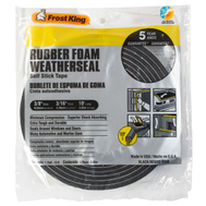 Thermwell R338 Frost King 3/16 Inch By 3/8 Inch By 10 Foot Black Rubber Foam With Self Stick Tape