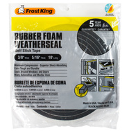Thermwell R538 Frost King 3/8 Inch By 5/16 Inch By 10 Foot Black Rubber Foam With Self Stick Tape