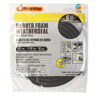 Thermwell R738 Frost King 7/16 Inch By 10 Foot Black Rubber Foam Weather Seal With Self Stick Tape