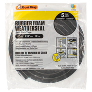 Thermwell R930 Frost King 9/16 Inch By 10 Foot Black Rubber Foam Weather Seal With Self Stick Tape