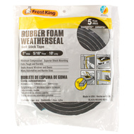 Thermwell R511 Frost King 5/16 Inch By 10 Foot Black Rubber Foam Weather Seal With Self Stick Tape