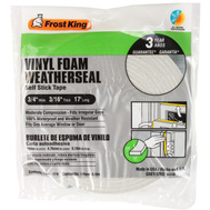 Thermwell V449 Frost King 3/16 Inch By 17 Foot Gray Vinyl Foam Weather Seal With Self Stick Tape