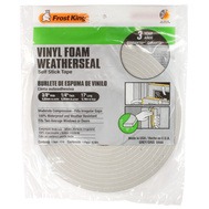 Thermwell V444 Frost King 1/4 Inch By 17 Foot Gray Vinyl Foam Weather Seal With Self Stick Tape