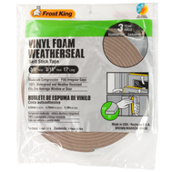 Thermwell V443B Frost King 3/16 Inch By 17 Foot Brown Vinyl Foam Weather Seal With Self Stick Tape
