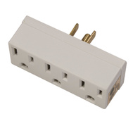 Leviton C22-697-W Three Outlet Grounded Adapter White