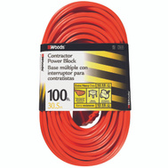 Coleman Cable 0820 12/3 By 100 Foot 3 Outlet Power Block