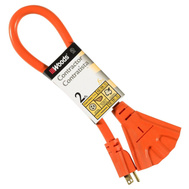 Coleman Cable 990824 Woods 3 Outlet Outdoor 12 Gauge Orange Contractor Power Block 2 Feet