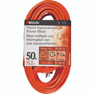 Coleman Cable 0826 14/3 By 50 Foot 3 Outlet Power Block