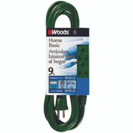Coleman Cable 0864 9 Foot 16/3 Sjtw 3 Outlet Cord Green