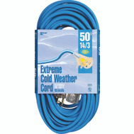 Coleman Cable 2628 50 Foot 14/3 Cold Flex Blue Extreme Cold Weather Cord
