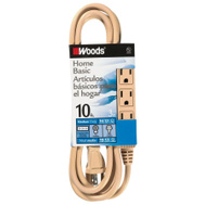 Coleman Cable 2865 10 Foot 16/3 Sjtw 3 Outlet Cord Beige