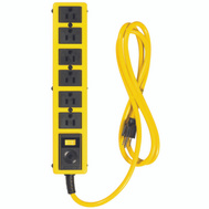 Coleman Cable 5139N Yellow Jacket 6 Outlet Power Strip With 6 Foot Cord