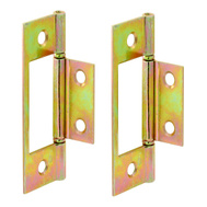 Prime Line N6656 161497 Bi-Fold Door Hinges 3 Inch Non Mortise Steel Brass Plated 2 Pack