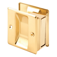 Prime Line N6770 161494 Passage Notched Pocket Door Pull 2-1/2 By 2-3/4 By 1-3/8 Inch Polished Brass