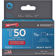 Arrow Fastener 505SS1 Staple Flat Ss Bx1000 5/16In (Box Of 1,000)