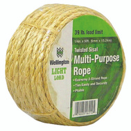 Wellington Cordage 16212 1/4 Inch By 50 Foot Natural Sisal Rope With 39 Pound Light Load Limit
