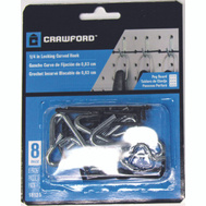 Crawford 18125 Curved Multi Fit Pegboard Hooks 1/4 Inch 8 Pack