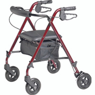 Medline MDS86825SLR Rollator Burgundy Ultralight