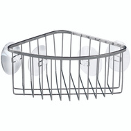 InterDesign 69102 Suction Bathroom Shower Caddy Corner Basket For Shampoo, Conditioner & Soap Stainless Steel Chrome Finish