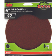 Ali 3013 Gator 6 Inch Adhesive Back Aluminum Oxide Sanding Discs 40 Grit Extra Coarse 3 Pack