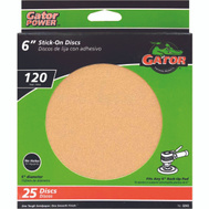 Ali 3243 Gator 6 Inch Stick-On Aluminum Oxide Sanding Discs 120 Grit Medium Fine 25 Pack