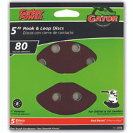 Ali 3724 Gator 5 Inch 8 Hole Hook And Loop Aluminum Oxide Sanding Discs 80 Grit Coarse 5 Pack
