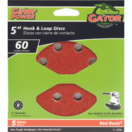 Ali 3725 Gator 5 Inch 8 Hole Hook And Loop Aluminum Oxide Sanding Discs 60 Grit Coarse 5 Pack