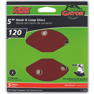 Ali 3783 Gator 5 Inch 5 Hole Hook And Loop Aluminum Oxide Sanding Discs 120 Grit Medium Fine 5 Pack