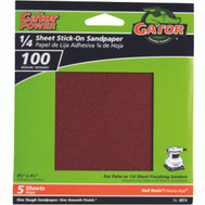 Ali 4074 Gator 4-1/2 By 4-1/2 Inch Sandpaper Adhesive Backed 100 Grit Aluminum Oxide 5 Sheets